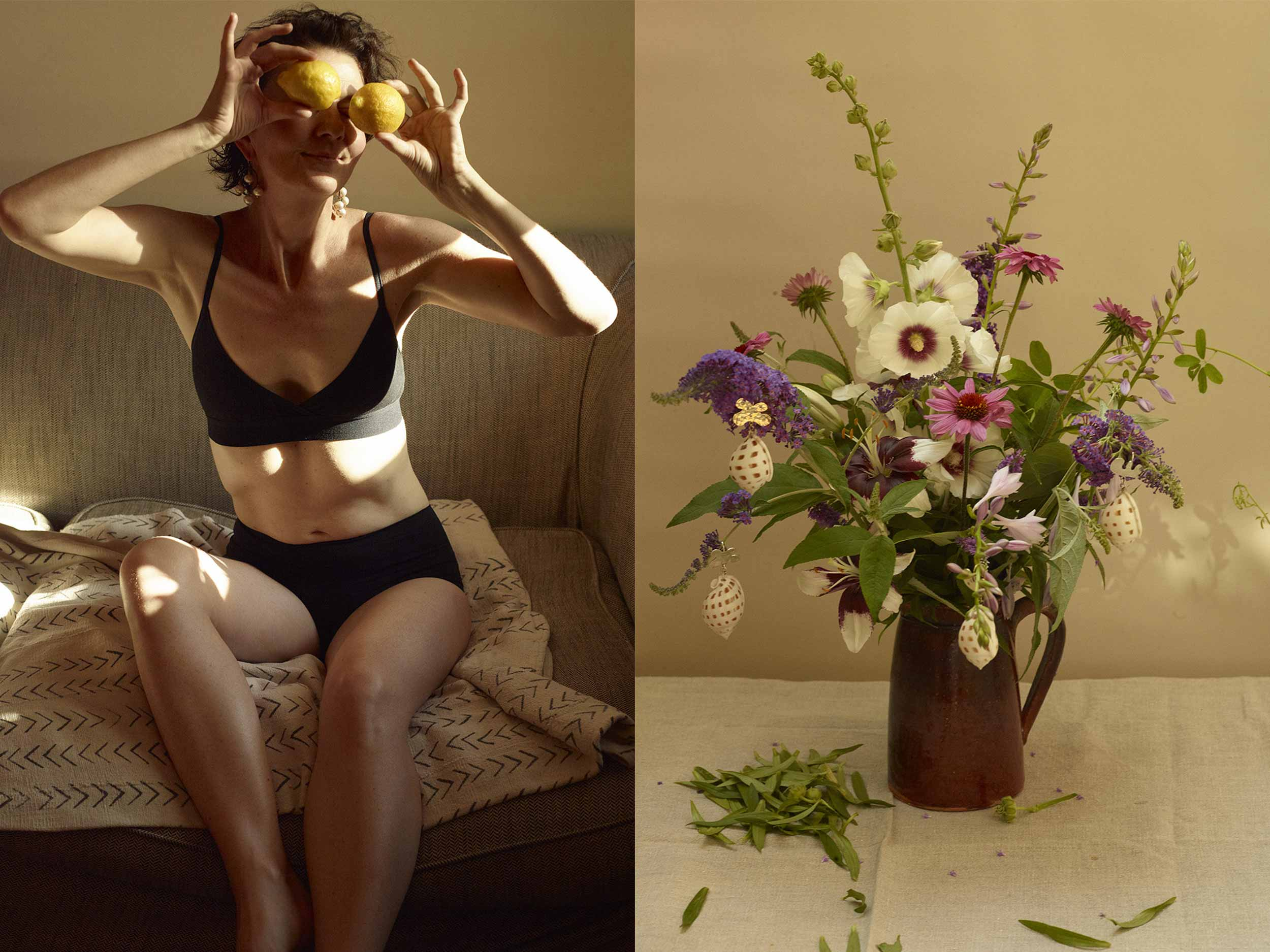 Catherine Servel captures her arty new jewelry collection on fruit, flowers, and family