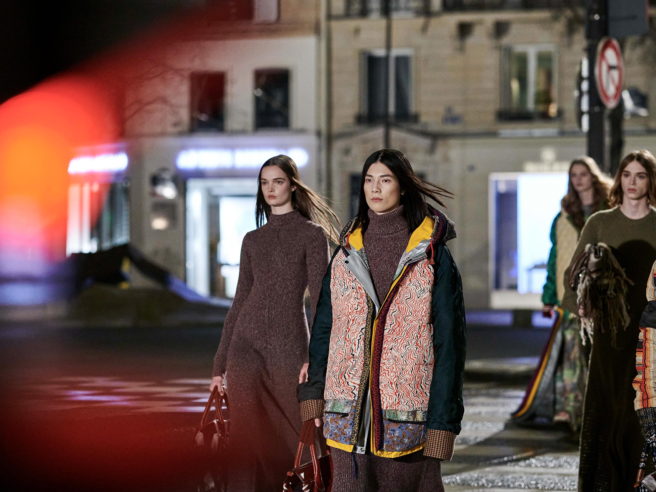 At Chloé, Gabriela Hearst makes a colorful, patchwork case for walking sustainability